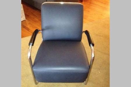 Leren fauteuil met chroom uitverkoop for Fauteuils uitverkoop